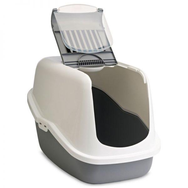 ZOOSHOP.ONLINE - Интернет-магазин зоотоваров - SAVIC Nestor Jumbo светло серый / белый - туалет для кошек