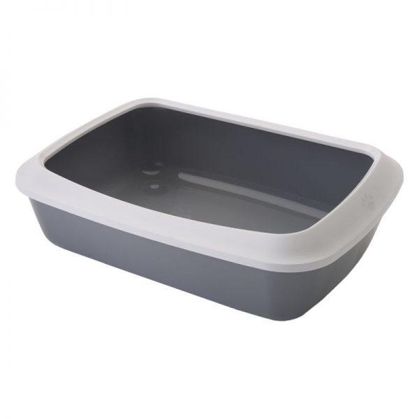 ZOOSHOP.ONLINE - Интернет-магазин зоотоваров - SAVIC туалет для кошек с бортиком Iriz светло-серый 50  см