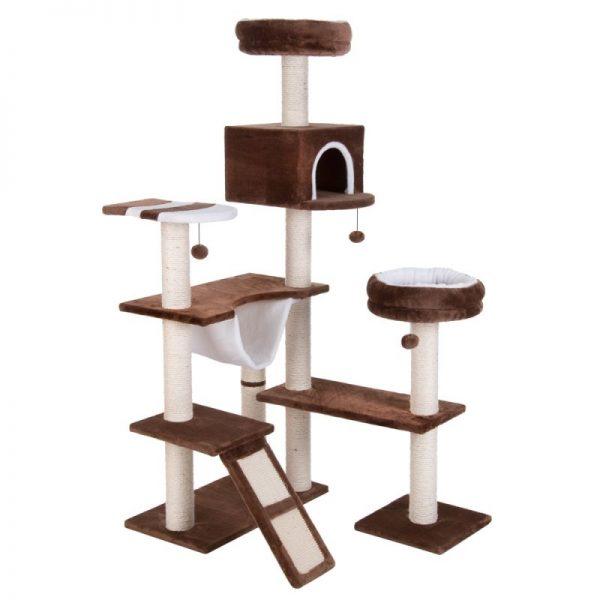 ZOOSHOP.ONLINE - Интернет-магазин зоотоваров - Когтеточка-домик для кошек  Пряничный домик темно-коричневый и бежевый