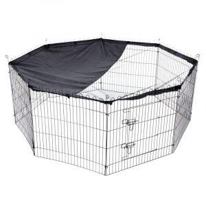 ZOOSHOP.ONLINE - Интернет-магазин зоотоваров - Манеж металлическая Outback 8 секций 80 x В 75 см, черный с навесом