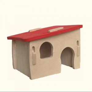ZOOSHOP.ONLINE - Zoopreču internetveikals - Mājiņa grauzējiem ar sarkanu jumtu 15 x  11 x В 11 сm