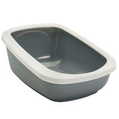 ZOOSHOP.ONLINE - Интернет-магазин зоотоваров - SAVIC Aseo Jumbo 67,5 x 48,5 x В 28 см - туалет для кошек с высоким бортиком белый/ серый