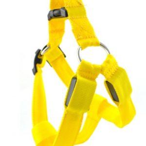 ZOOSHOP.ONLINE - Интернет-магазин зоотоваров - LED светящийся шлейка нейлоновая  - желтая М: 43 - 60 cм
