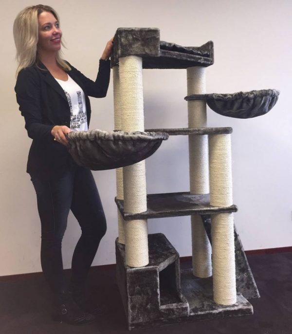 ZOOSHOP.ONLINE - Zoopreču internetveikals - Kaķu stūris Kun (pelēkbrūna) Cat Tree Corner Coon Taupe