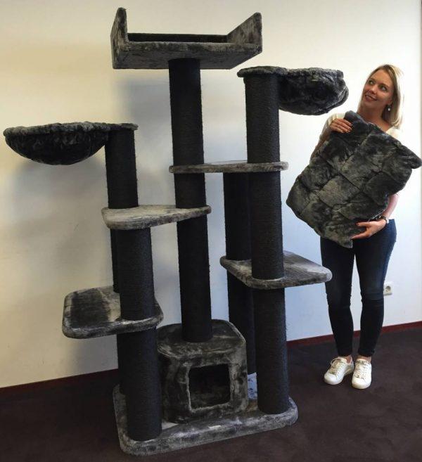 ZOOSHOP.ONLINE - Интернет-магазин зоотоваров - Кошачье дерево Мейн кун фэнтези черная линия (антрацит). Cat Tree Maine Coon Fantasy Blackline Anthracite