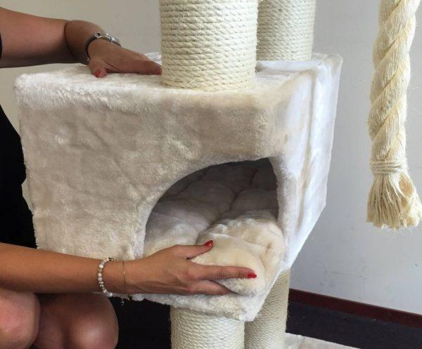 ZOOSHOP.ONLINE - Zoopreču internetveikals - Kaķu māja Kaķu sapnis (krems)  Cat Tree Catdream de Luxe Cream
