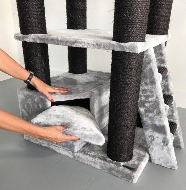 ZOOSHOP.ONLINE - Интернет-магазин зоотоваров - Кошачий уголок Кун черная линия (светло-серый). Cat Tree Corner Coon Blackline Light Grey