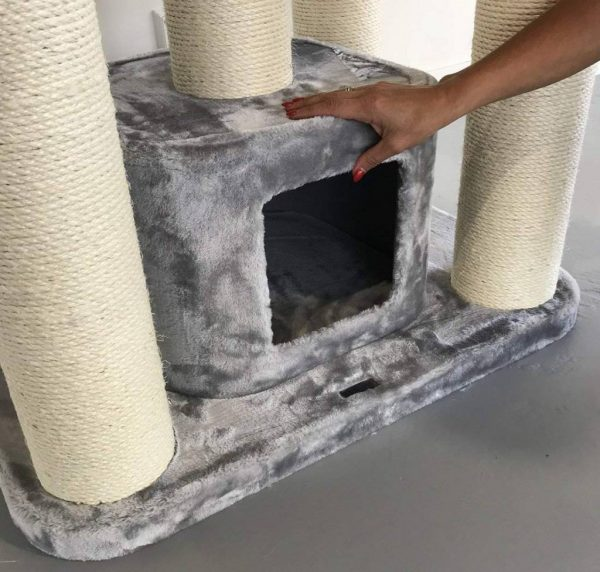 ZOOSHOP.ONLINE - Zoopreču internetveikals - Kaķu māja Maine Coon Fantāzija PLUS (gaiši pelēks) .Cat Tree Maine Coon Fantasy Plus Light Grey