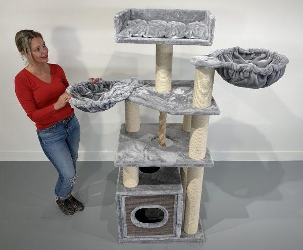 ZOOSHOP.ONLINE - Zoopreču internetveikals - Кaķu māja Relax Plus (gaiši pelēks). 0402 Cat Tree Cat Relax PLUS Light Grey
