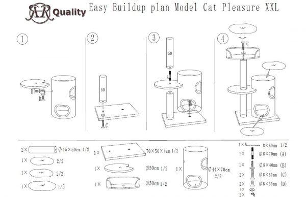 ZOOSHOP.ONLINE - Zoopreču internetveikals - Kaķu koks Kaķu Prieks (krēms). Cat Tree Cat Pleasure Cream