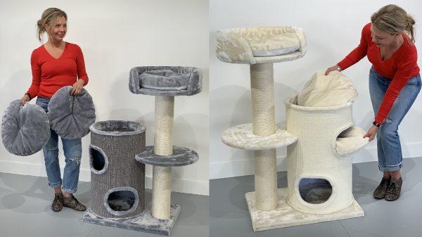 ZOOSHOP.ONLINE - Интернет-магазин зоотоваров - Кошачье дерево Кошачье Удовольствие (светло-серый). 0417 Cat Tree Cat Pleasure Light Grey