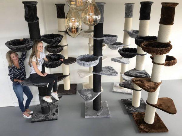 ZOOSHOP.ONLINE - Интернет-магазин зоотоваров - Кошачье дерево Мейн кун Башня ПЛЮС Черная линия(светло-серый). Cat Tree Maine Coon Tower PLUS Blackline Light Grey
