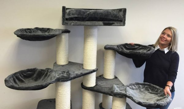 ZOOSHOP.ONLINE - Zoopreču internetveikals - Kaķu māja Maine Coon Fantāzija PLUS (antracīts). Cat tree Maine Coon Fantasy PLUS Anthracite