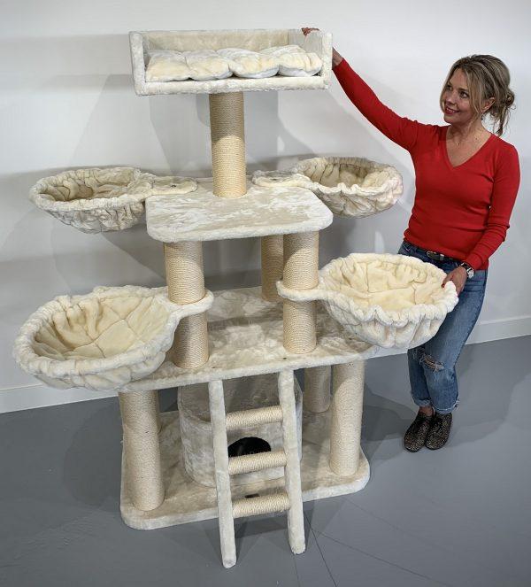 ZOOSHOP.ONLINE - Zoopreču internetveikals - Kaķu māja Pantera Plus (krems). Cat Tree Panther PLUS Cream