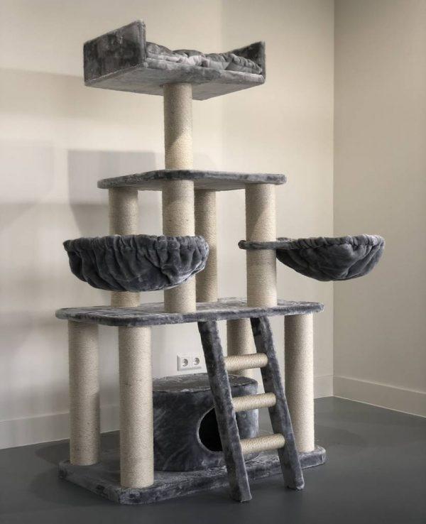 ZOOSHOP.ONLINE - Zoopreču internetveikals - Kaķu māja Pantera (Gaiši pelēks). Cat Tree Panther Light Grey