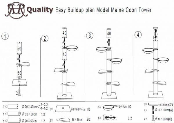 ZOOSHOP.ONLINE - Zoopreču internetveikals - Kaķu koks Maine Coon Tornis (gaiši pelēks). Cat Tree Maine Coon Tower Light Grey