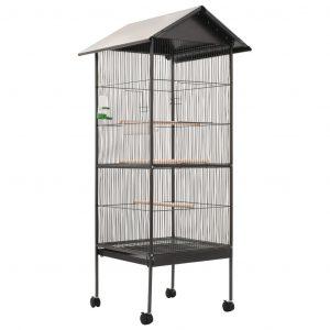 ZOOSHOP.ONLINE - Интернет-магазин зоотоваров - Клетка для птиц с крышей (Чёрная)