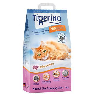 ZOOSHOP.ONLINE - Zoopreču internetveikals - Pakaiši kaķu tualetei 14 L .(bērnu pulvera aromāts)Tigerino Nuggies Classic