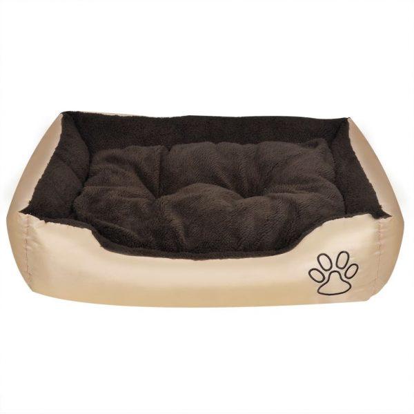 ZOOSHOP.ONLINE - Интернет-магазин зоотоваров - Кровать для собаки с мягкой подушкой, бежевая с коричневым