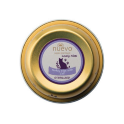 ZOOSHOP.ONLINE - Интернет-магазин зоотоваров - Nuevo Sterilized Cat Adult Turkey Filet Calf 85 гр