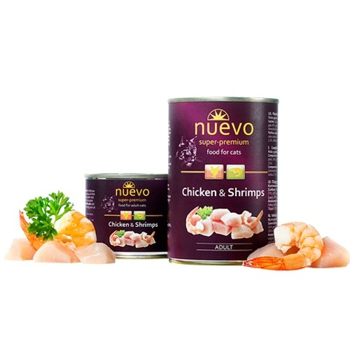 ZOOSHOP.ONLINE - Zoopreču internetveikals - Nuevo Super Premium Cat Adult Chicken & Shrimps 400g