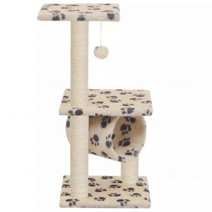 ZOOSHOP.ONLINE - Zoopreču internetveikals - Māja kaķēniem 65 cm, bēša ar rakstu