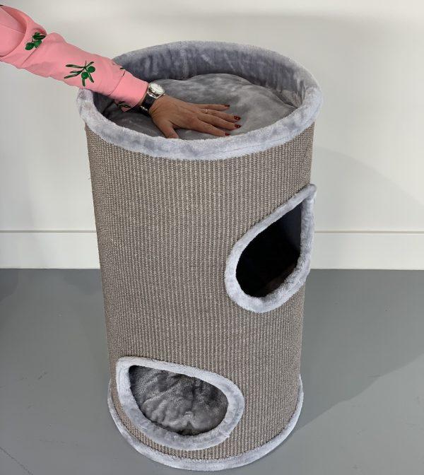 ZOOSHOP.ONLINE - Интернет-магазин зоотоваров - Кошачий дом Бочка 80 (светло-серый).Cat Tree Coony 80 Light Grey