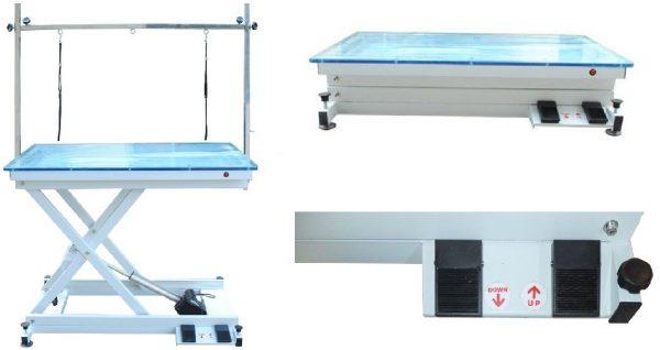 ZOOSHOP.ONLINE - Zoopreču internetveikals - Gruminga galds Crystal ar regulējamu augstumu un apgaismojumu Electric Light 110 x 60 cm