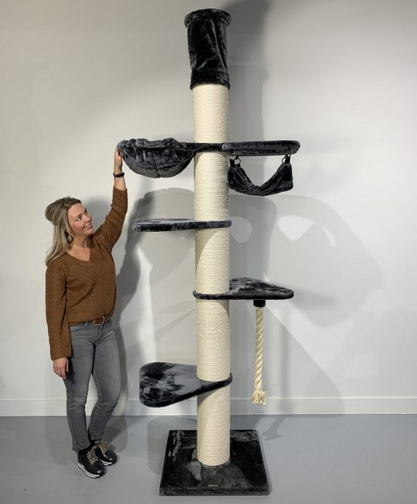 ZOOSHOP.ONLINE - Zoopreču internetveikals - Kaķu koks Maine Coon Tornis-Kronis (tumši pelēka). 0438 Cat Tree Maine Coon Tower Crown Dark Grey