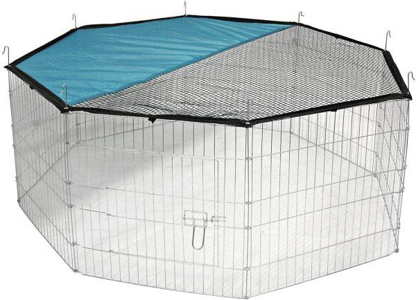 ZOOSHOP.ONLINE - Zoopreču internetveikals - Manēža Kerbl metāla 8 sekcijas ar jumta pārvalku Ø 143 cm