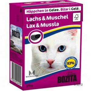 ZOOSHOP.ONLINE - Zoopreču internetveikals - Bozita kaķu konservi 370g lasis un mīdijas želejā x 6