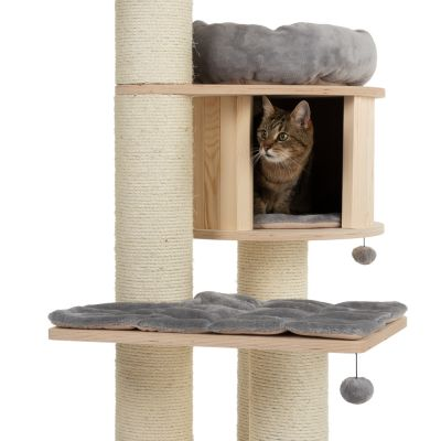 ZOOSHOP.ONLINE - Интернет-магазин зоотоваров - Кошачий дом Натуральный рай XL Премиум-выпуск серый