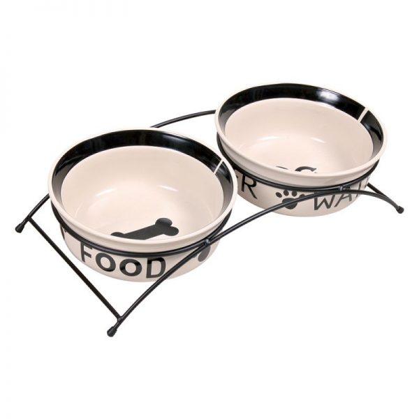 ZOOSHOP.ONLINE - Zoopreču internetveikals - Statīvs ar keramikas bļodām Trixie Eat on Feet 2 x 1.6 l