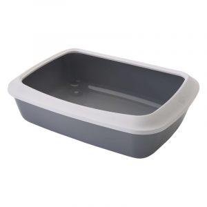 ZOOSHOP.ONLINE - Интернет-магазин зоотоваров - SAVIC IRIS туалет для кошек с бортиком светло-серый 42 см