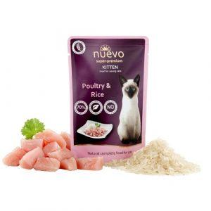 ZOOSHOP.ONLINE - Zoopreču internetveikals - Konservi kaķēniem, vista un rīsi Nuevo Super Premium Cat Adult Chicken & Salmon  85 gr