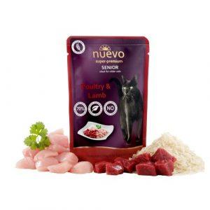 ZOOSHOP.ONLINE - Zoopreču internetveikals - Konservi kaķiem senioriem Nuevo Super Premium Cat Senior Poultry & Lamb  85 gr