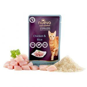ZOOSHOP.ONLINE - Zoopreču internetveikals - Konservi sterilizētiem kaķiem ar vistas gaļu un rīsiem Nuevo Super Premium Cat Sterilised Chicken & Rice 85 gr