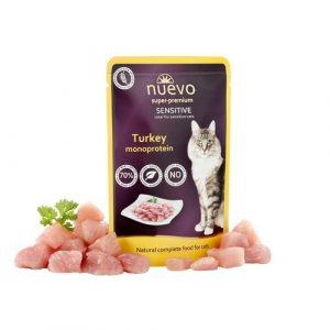 ZOOSHOP.ONLINE - Zoopreču internetveikals - Konservi kaķiem ar tītara gaļu Nuevo Super Premium Cat Sensitive Turkey 85 gr