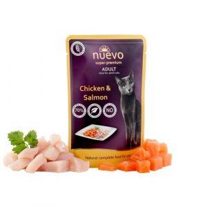 ZOOSHOP.ONLINE - Zoopreču internetveikals - Konservi kaķiem, vista un lasis Nuevo Super Premium Cat Adult Chicken & Salmon 85 gr
