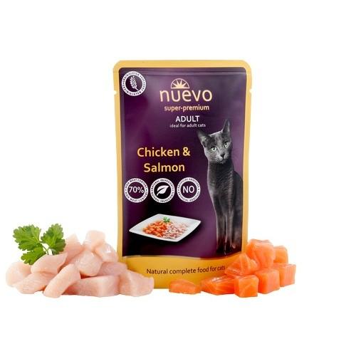 ZOOSHOP.ONLINE - Интернет-магазин зоотоваров - Консервы для кошек, курятина и лосось Nuevo Super Premium Cat Adult Chicken & Salmon 85 гр