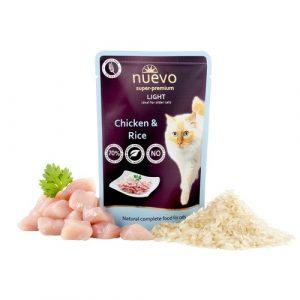 ZOOSHOP.ONLINE - Zoopreču internetveikals - Konservi kaķiem ar noslieci uz lieko svaru, vista un rīsi Nuevo Super Premium Cat Adult Chicken & Salmon 85 gr