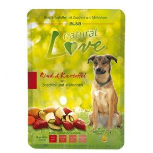 ZOOSHOP.ONLINE - Zoopreču internetveikals - Konservi suņiem ar liellopa gaļu un kartupeļiem Alsa natural Love Dog Adult Beef & Potato 6x300 gr