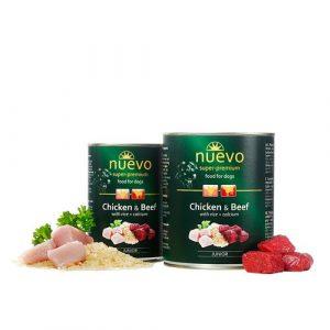 ZOOSHOP.ONLINE - Zoopreču internetveikals - Konservi kucēniem ar vistas un liellopu gaļu Nuevo Super Premium Junior 400 gr