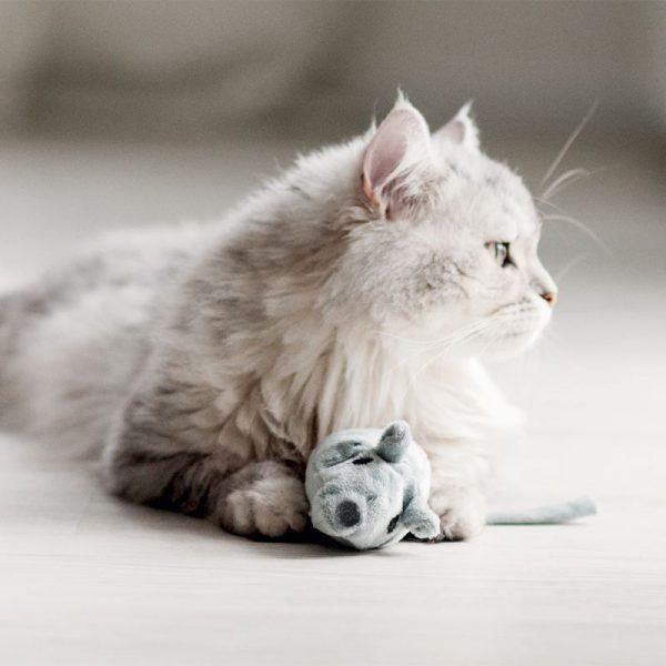 ZOOSHOP.ONLINE - Zoopreču internetveikals - Rotaļlieta kaķiem ar dabīgu kaķumētru, pelēka
