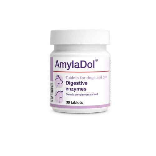ZOOSHOP.ONLINE - Интернет-магазин зоотоваров - Пищевая добавка - Пищеварительные ферменты DOLVIT AmylaDol Cat Dog 30 tab