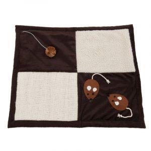 ZOOSHOP.ONLINE - Интернет-магазин зоотоваров - Kогтеточка-коврик Patchwork коричневый/бежевый, с мышками