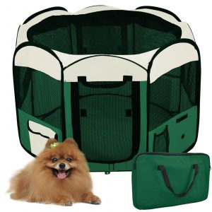 ZOOSHOP.ONLINE - Zoopreču internetveikals - Manēža saliekama suņiem, trušiem un kaķēniem, brezenta materiāls ar noņemamu grīdu - zaļā krāsā