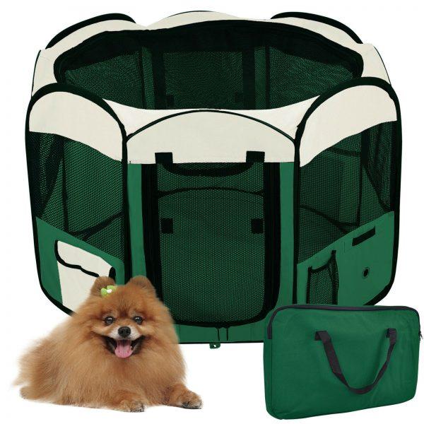 ZOOSHOP.ONLINE - Zoopreču internetveikals - Manēža saliekama suņiem, trušiem un kaķēniem, brezenta materiāls ar noņemamu grīdu - zaļā krāsa