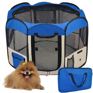 ZOOSHOP.ONLINE - Zoopreču internetveikals - Manēža saliekama suņiem, trušiem un kaķēniem, brezenta materiāls ar noņemamu grīdu - zilā krāsā