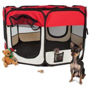 ZOOSHOP.ONLINE - Zoopreču internetveikals - Manēža saliekama suņiem, trušiem un kaķēniem, brezenta materiāls ar noņemamu grīdu - sarkanā krāsā